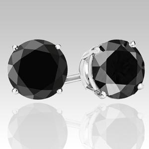 Prodid 6382 Of 1 Carat Black Diamond Earrings In 14k White Or Yellow Gold