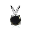 1 Carat Black Diamond Pendant in Sterling Silver