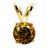 1 Carat Red Cognac Diamond Pendant in 14k Gold