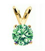 0.25 Cts. Green Diamond Pendant in 14k Gold