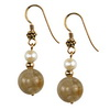 Cultured Pearl-Rutilated Quartz Sterling Silver Earrings