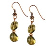 Olive Green Citrine Oval Beads Sterling Silver 10 mm Earrings