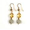 Golden Citrine/Prehnite Oval/Round Sterling Silver 10mm Earrings