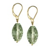 Green Amethyst Faceted Drop Sterling Silver 14x8 mm Earrings
