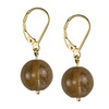 Rutilated Gold Quartz Round Beads Sterling Silver 12 mm Earrings