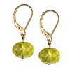 Green Gold Lemon Citrine Round Button Silver 10 mm Earrings
