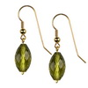 Olive Green Citrine Faceted Drop Sterling Silver 14x8 mm Earring
