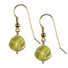 Green Gold lemon Citrine Fancy Flower Cut Silver 14 mm Earrings