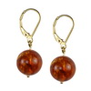 Amber Round Sterling Silver 12 mm Earrings