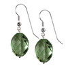 Green Amethyst Faceted Oval Drop Silver 20x15 mm Earrings