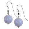 Sky Blue Agate Round Sterling Silver 16 mm Earrings