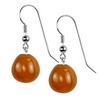 Carnelian Oval Drop Sterling Silver 12 mm Earrings