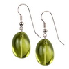 Green Gold Lemon Citrine Oval Drop Silver 22x17 mm Earrings