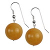 Yellow Carnelian Round Sterling Silver 20 mm Earrings