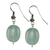 Aquamarine Oval Drop Sterling Silver 17x14 mm Earrings
