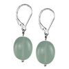 Aquamarine Oval Drop Sterling Silver 14x10 mm Earrings