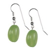 Prehnite Oval Drop Sterling Silver 14x10 mm Earrings