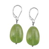 Prehnite Oval Drop Sterling Silver 19x13 mm Earrings
