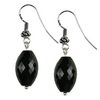 Black Onyx Faceted Drop Sterling Silver 13x8 mm Earrings