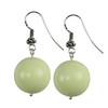 Green Agate Round Sterling Silver 18 mm Earrings