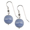Blue lace Agate Round Sterling Silver Earrings