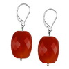 Red Carnelian Faceted Nugget Sterling Silver 19x14 mm Earrings