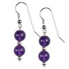 African Amethyst Round Sterling Silver 10 mm Earrings