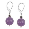 Rose Amethyst Round Sterling Silver 12 mm Earrings