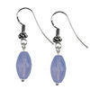 American Blue Calcedony Faceted Drop Silver 14x8 mm Earrings