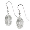 Rock Crystal Faceted Drop Sterling Silver 20x14 mm Earrings
