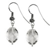 Rock Crystal Faceted Oval Sterling Silver 14x11 mm Earrings
