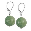 Green Agate Round Sterling Silver 14 mm Earrings