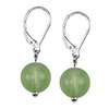 Green Agate Round Sterling Silver 10 mm Earrings