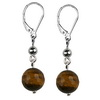 Tiger Eye Faceted Round Sterling Silver 10 mm Earrings
