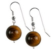 Tiger Eye Round Sterling Silver 14 mm Earrings