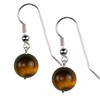 Tiger Eye Round Sterling Silver 12 mm Earrings