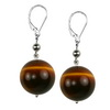 Tiger Eye Round Sterling Silver 16 mm Earrings