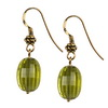 Green Gold Quartz 14x10 mm Oval ckr Brd cut Drop Silver Earrings