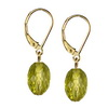 Green Gold Lemon Citrine Oval Drop Silver 10x8 mm Earrings