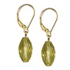 Green Gold Lemon Citrine Faceted Drop Silver 13 mm Earrings
