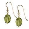 Green Gold Lemon Citrine Oval Drop Silver 14x12 mm Earrings