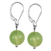 Sea Green Fluorite Round Sterling Silver 10 mm Earrings