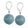 Aquamarine Round Sterling Silver 16 mm Earrings