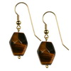 Tiger Eye  Fancy Drop Sterling Silver 18x13 mm Earrings