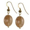 Golden Rutilated Quartz Oval Sterling Silver 20x15 mm Earrings
