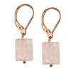 Golden Pink Quartz Cylinder Sterling Silver 11x8 mm Earrings