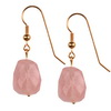 Rose Quartz Faceted Nugget Sterling Silver 19x15 mm Earrings