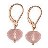 Rose Quartz Faceted Button Sterling Silver 10 mm Earrings