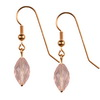 Rose Quartz Faceted Drop Sterling Silver 14x8 mm Earrings