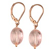 Rose Quartz Faceted Oval Sterling Silver 12x10 mm Earrings